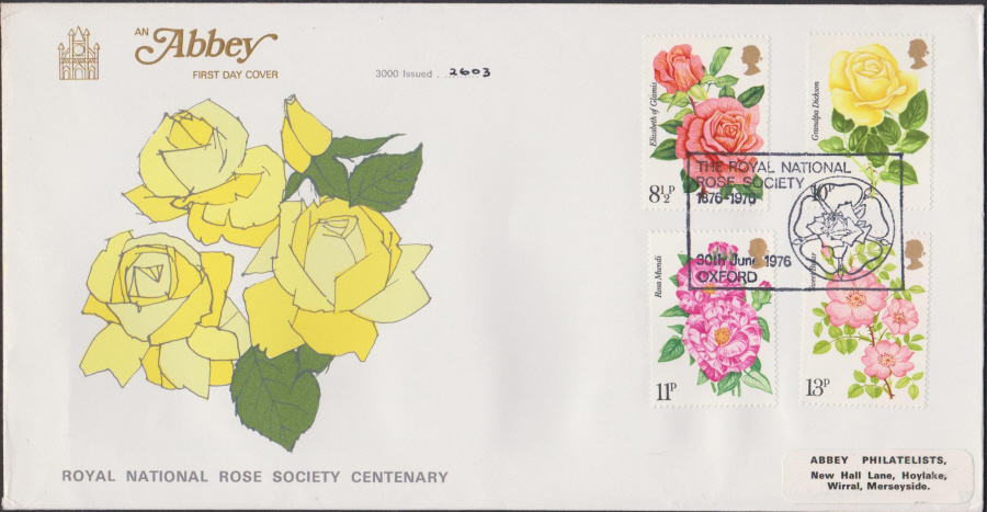 1976 Abbey FDC Roses Rose Society Oxford Postmark