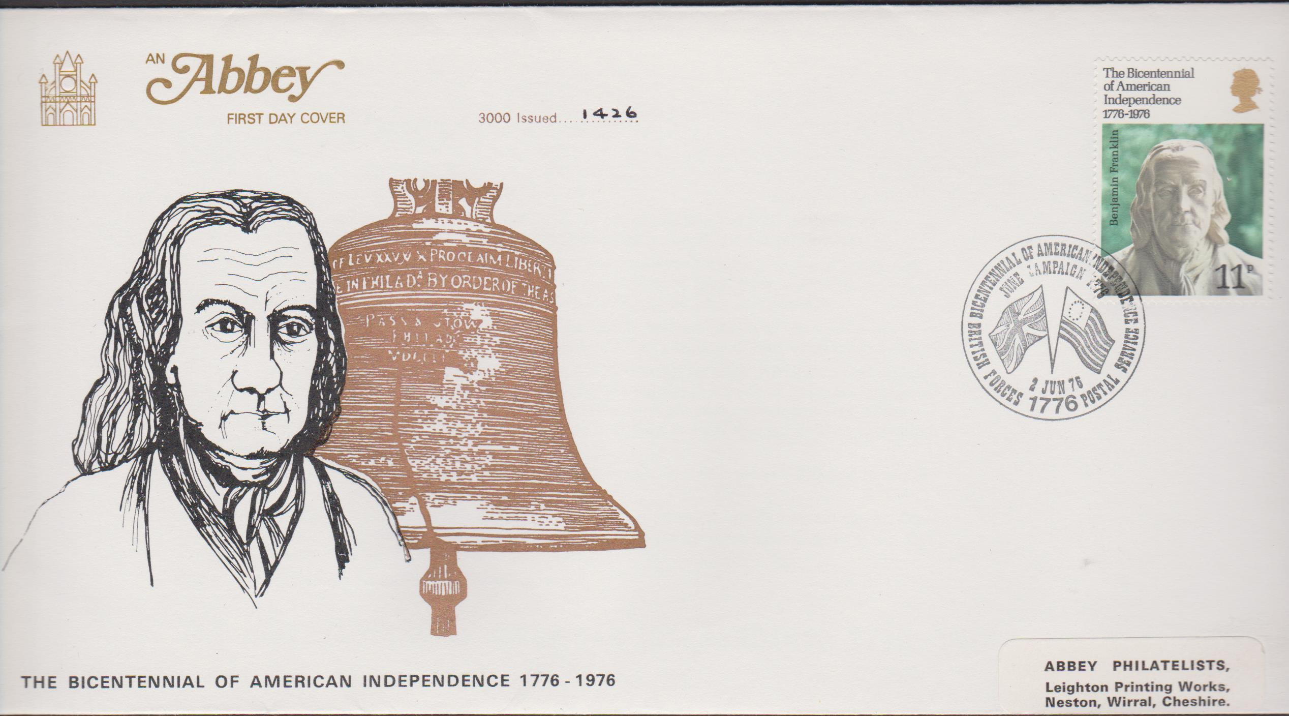1976 Abbey FDC U S Bicentenary Forces 1776 Postal Service Postmark - Click Image to Close