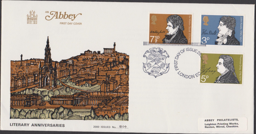 1971 Abbey FDC Literary Anniv London E C Postmark