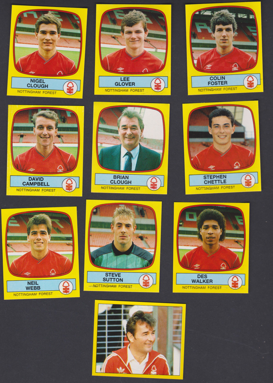 Panini Football 88 Stickers Group from Nottingham Forest of 10 stickers