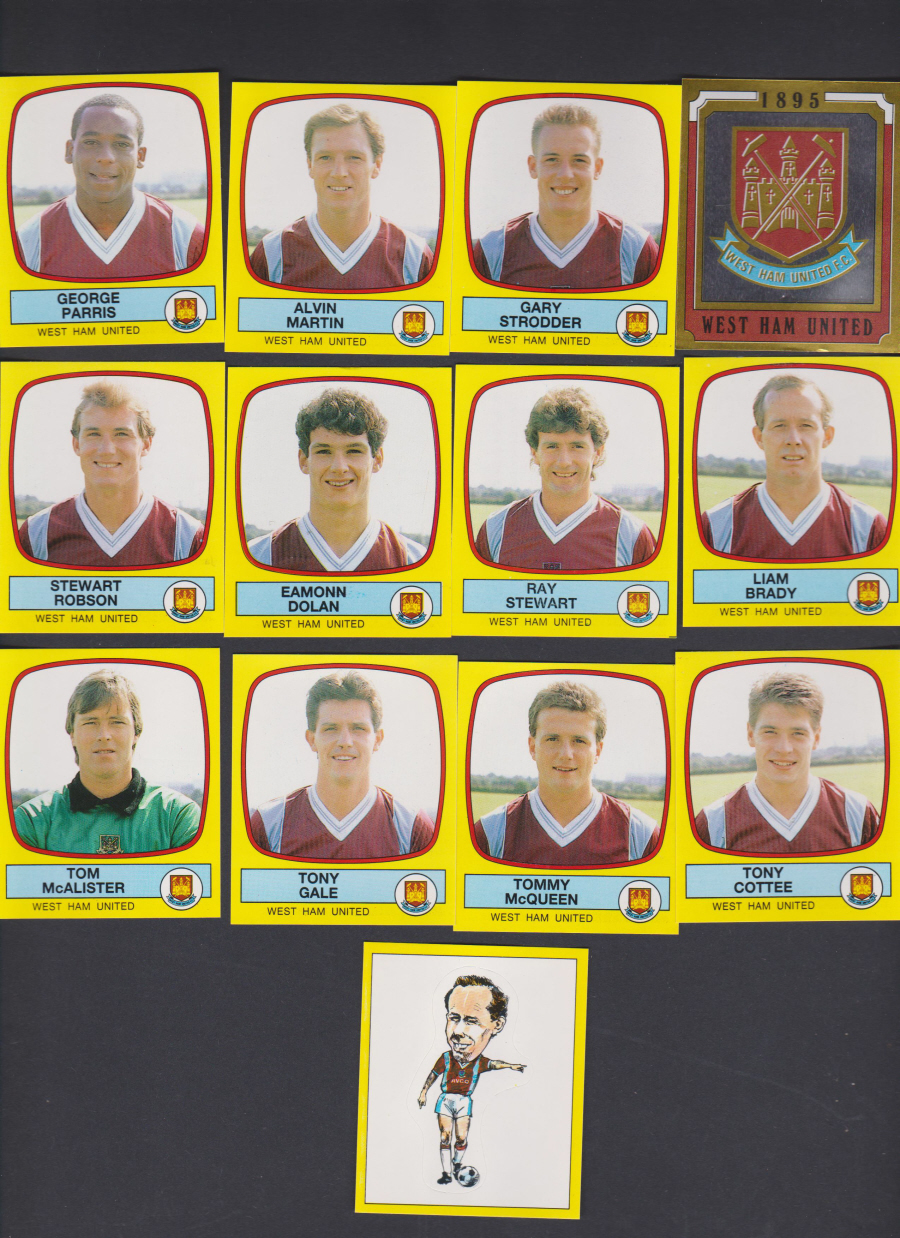 Panini Football 88 Stickers Group from West Ham United of 13 stickers