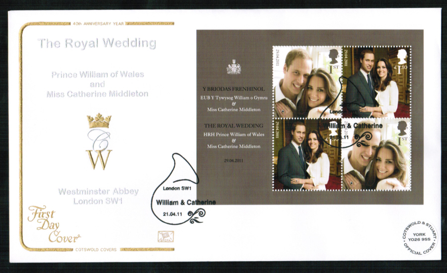 2011 Official Cotswold Royal Wedding FDC London SW1 Postmark