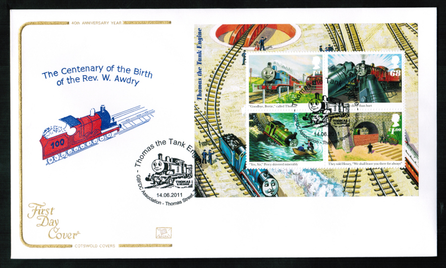 2011 Cotswold Thomas the Tank Mini Sheet FDC Thomas St Tamworth Postmark