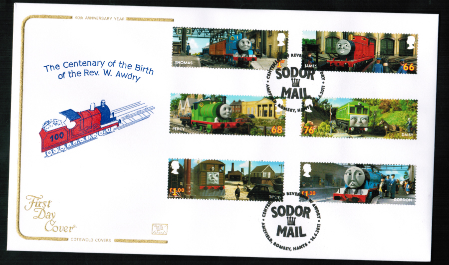 2011 Cotswold Thomas the Tank FDC Sodor Mail Romsey Postmark