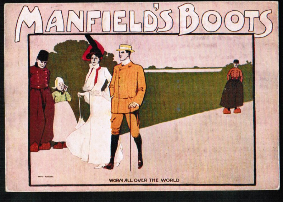 Postcard Advertising Manfield's Boots Corporation St