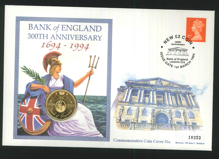 1994 - Bank of England 300th Anniversary Coin Cover - £2 Coin & Bank of England Postmark
