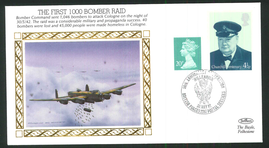 1992 - 50th Anniversary WW11 Bomber Raids CC - BF2287PS Postmark