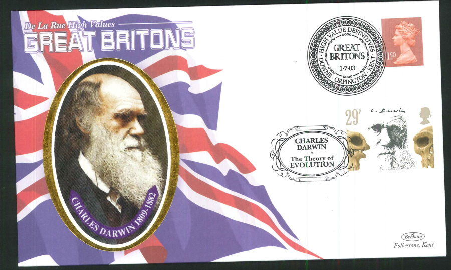 2003 - Great Britons - Iriodin Ink - Set of 4 First Day Covers - Various Postmarks