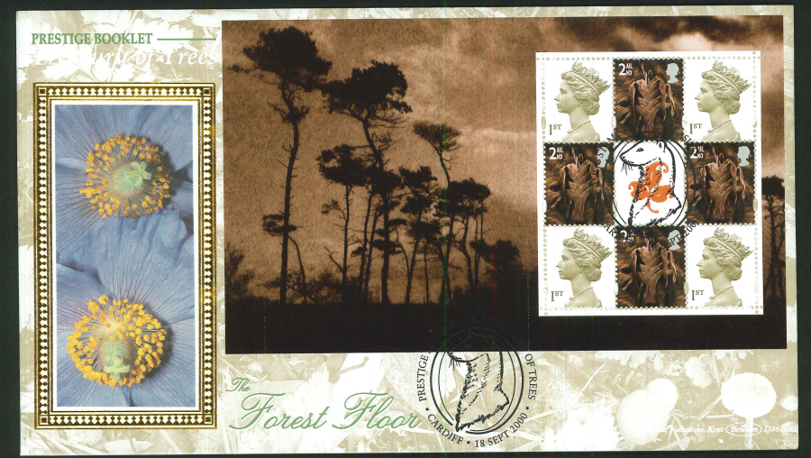 2000 - Treasury of Trees - Prestige Stamp Book set of 5 First Day Covers - Various Postmarks