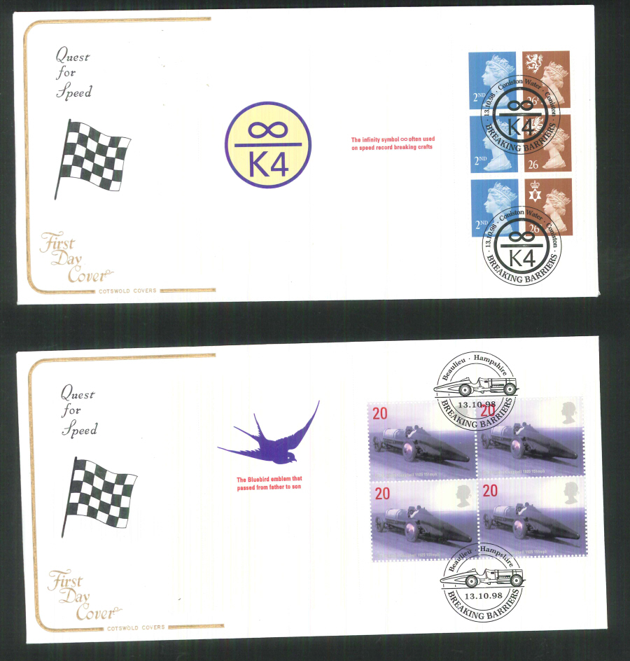 1998 - Cotswold Speed - Breaking Barriers - Prestige Stamp Book Set of 4 Covers - Various Postmarks