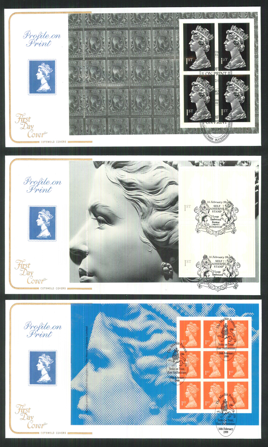 1999 - Cotswold Profile on Print - Prestige Stamp Book Set of 5 Covers - Various Postmarks