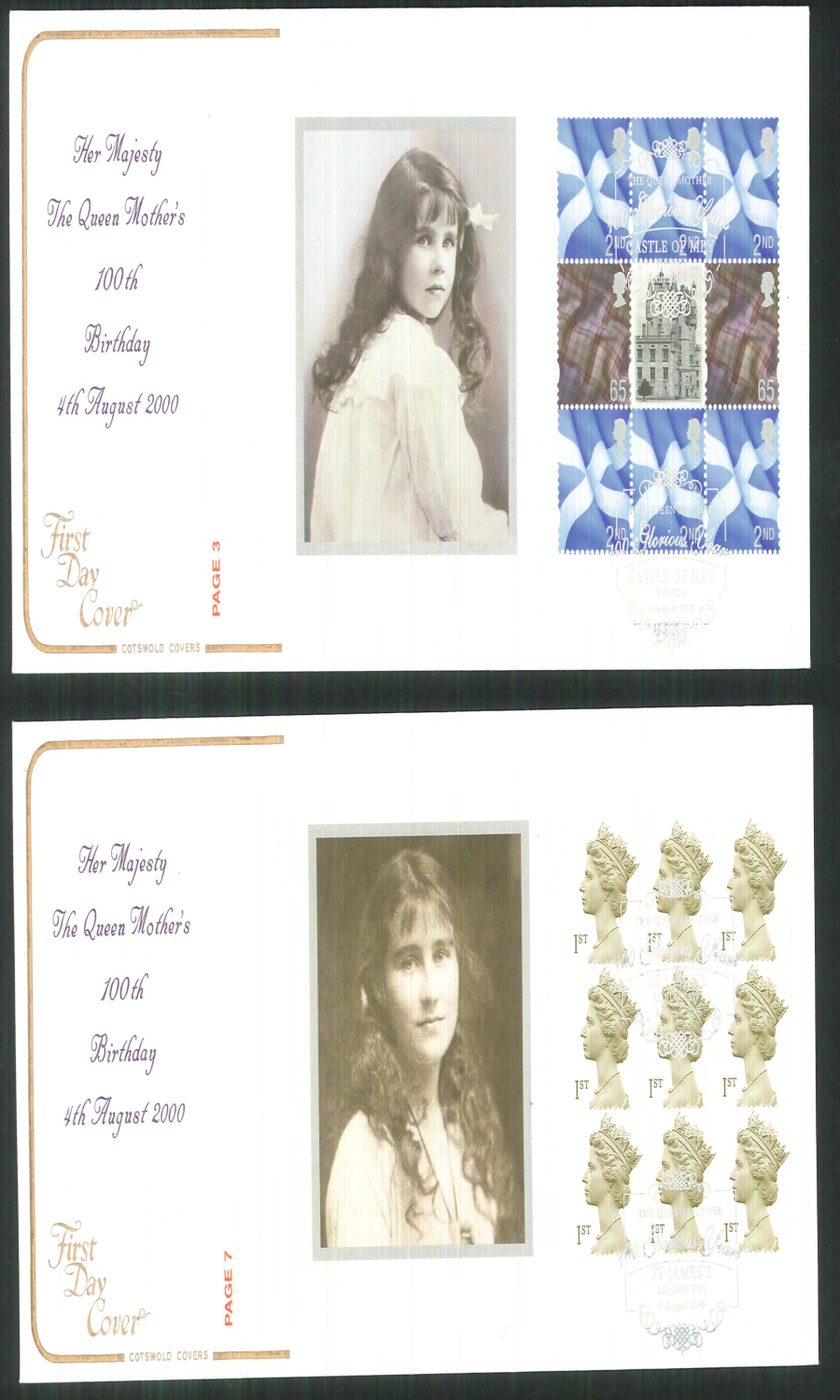 2000 - Cotswold Queen Mother- Prestige Stamp Book Set of 4 Covers - Various Postmarks