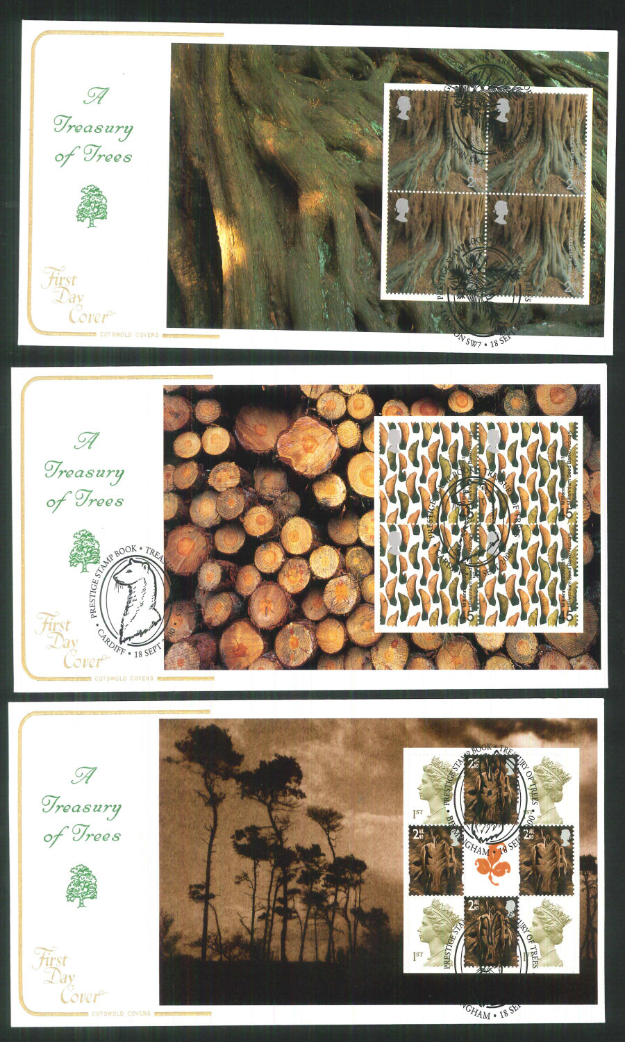 2000 - Cotswold Treasury of Trees- Prestige Stamp Book Set of 4 Covers - Various Postmarks