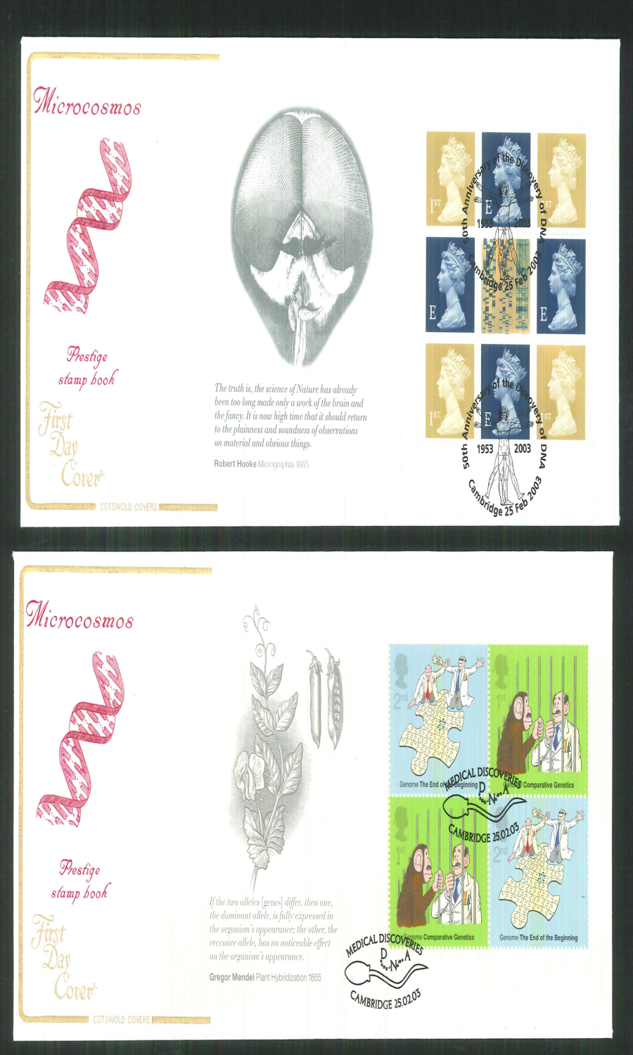 2003 - Medical Discoveries - Prestige Stamp Book Set of 4 Covers - Various Postmarks