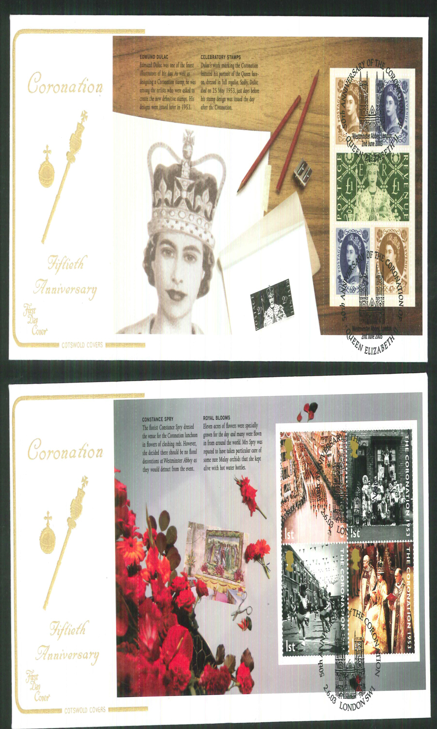 2003 - Coronation 50th Anniv - Prestige Stamp Book Set of 4 Covers - Various Postmarks