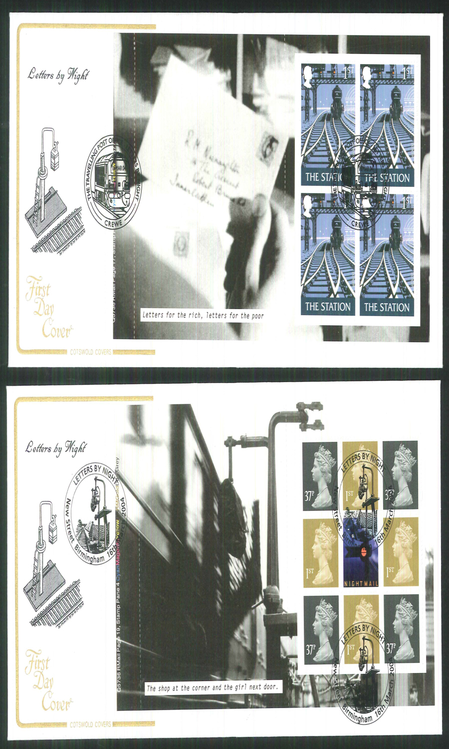 2004 - Letters by Night - Prestige Stamp Book Set of 4 Covers - Various Postmarks