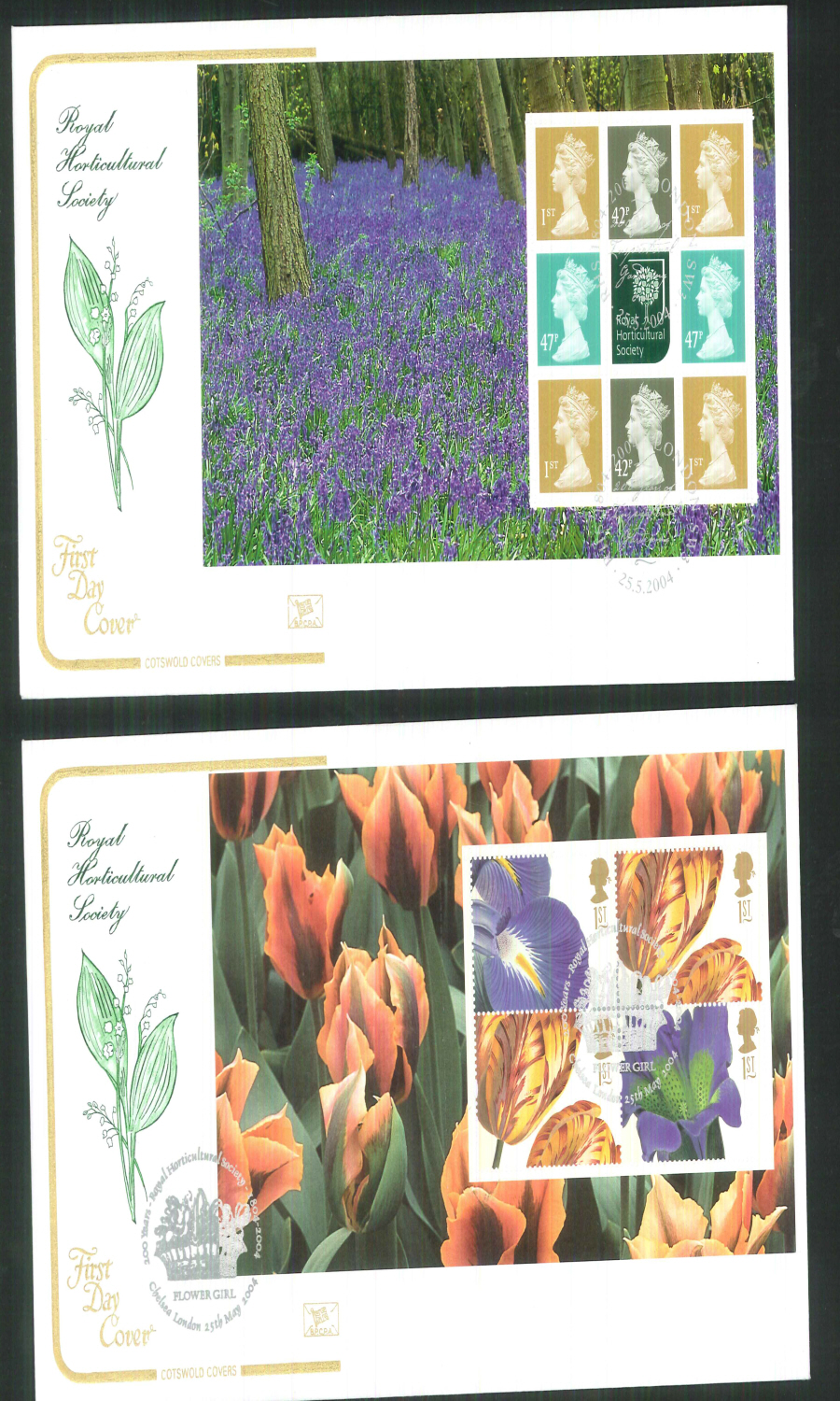 2004 - Royal Horticultural Society - Prestige Stamp Book Set of 4 Covers - Various Postmarks
