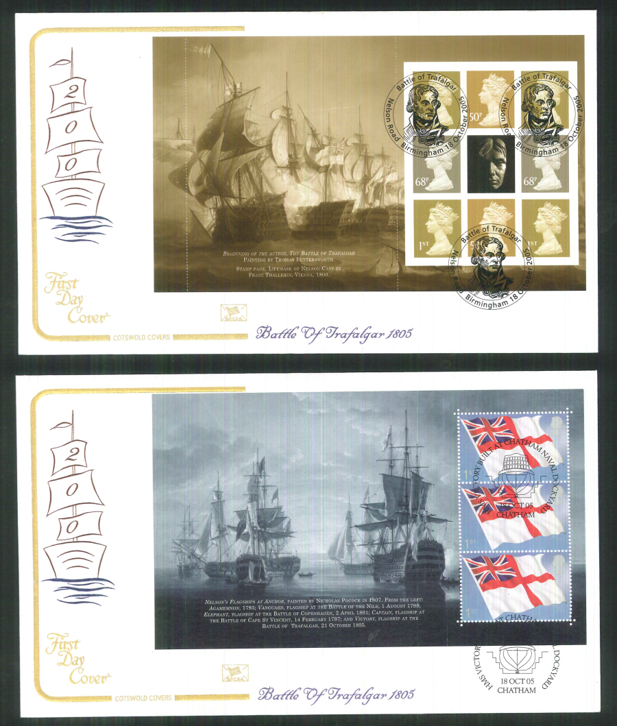 2005 - Battle of Trafalgar - Prestige Stamp Book Set of 4 Covers - Various Postmarks