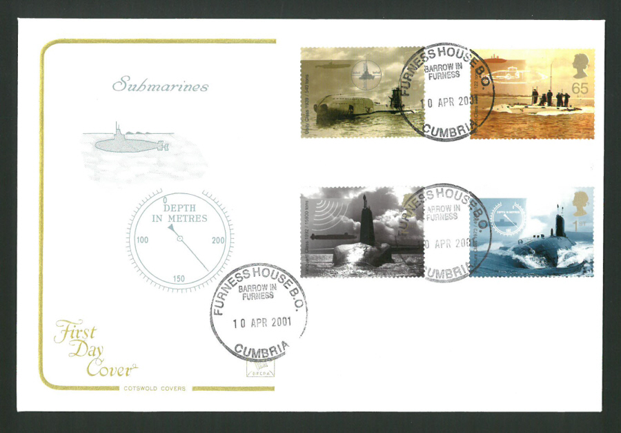 2001 - Cotswold Submarines - FDC -Furness House B O C D S Postmark