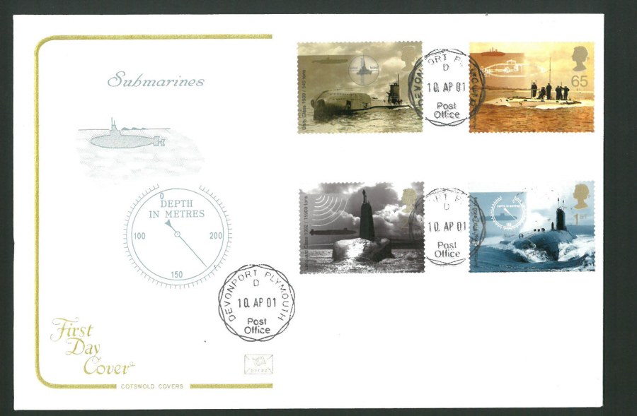 2001 - Cotswold Submarines - FDC -Devonport,Plymouth C D S Postmark - Click Image to Close