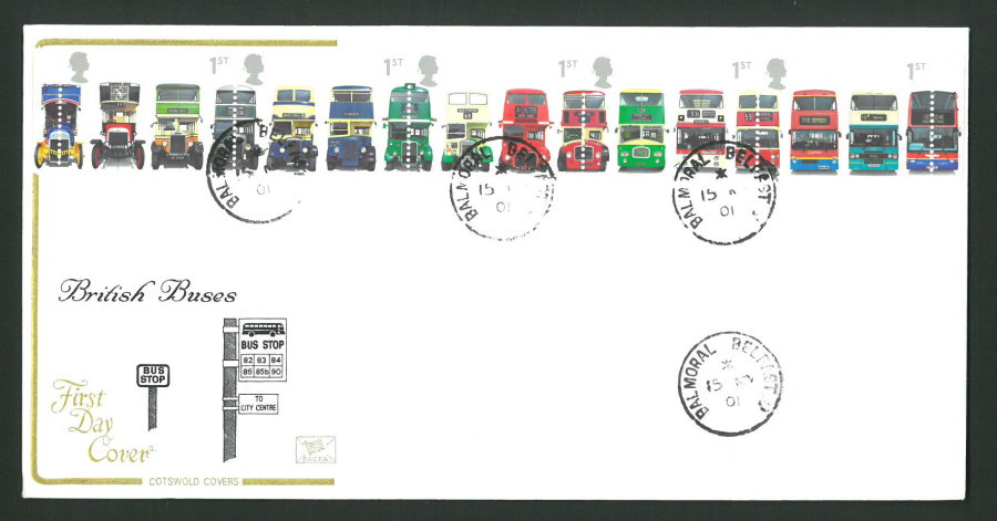 2001 - Cotswold British Buses Set - FDC -Balmoral Belfast C D S Postmark - Click Image to Close