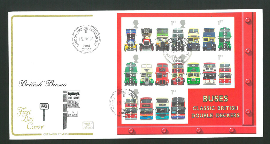 2001 - Cotswold British Buses Mini Sheet - FDC -London Bridge C D S Postmark - Click Image to Close