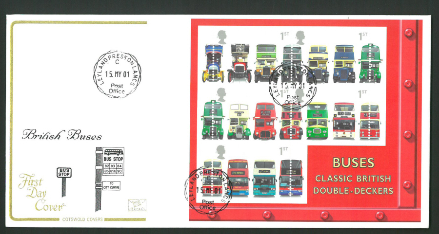 2001 - Cotswold British Buses Mini Sheet - FDC - Leyland,Preston C D S Postmark