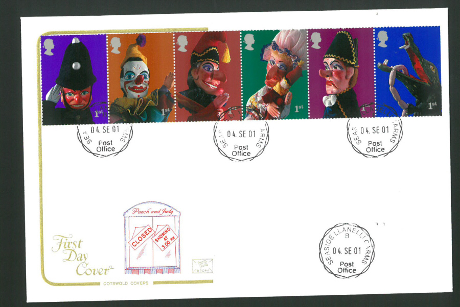 2001 - Cotswold Punch & Judy - FDC -Seaside C D S Postmark
