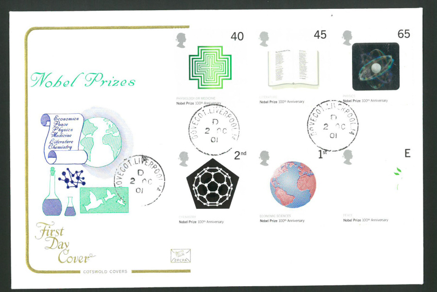2001 - Cotswold Nobel Prize - FDC -Dovecot Liverpool C D S Postmark