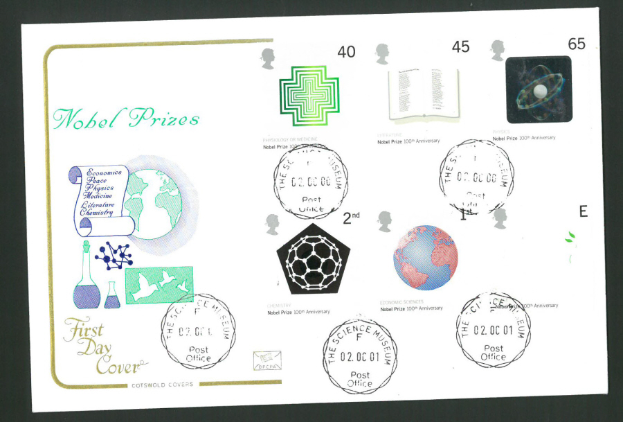 2001 - Cotswold Nobel Prize - FDC -Science Museum C D S Postmark