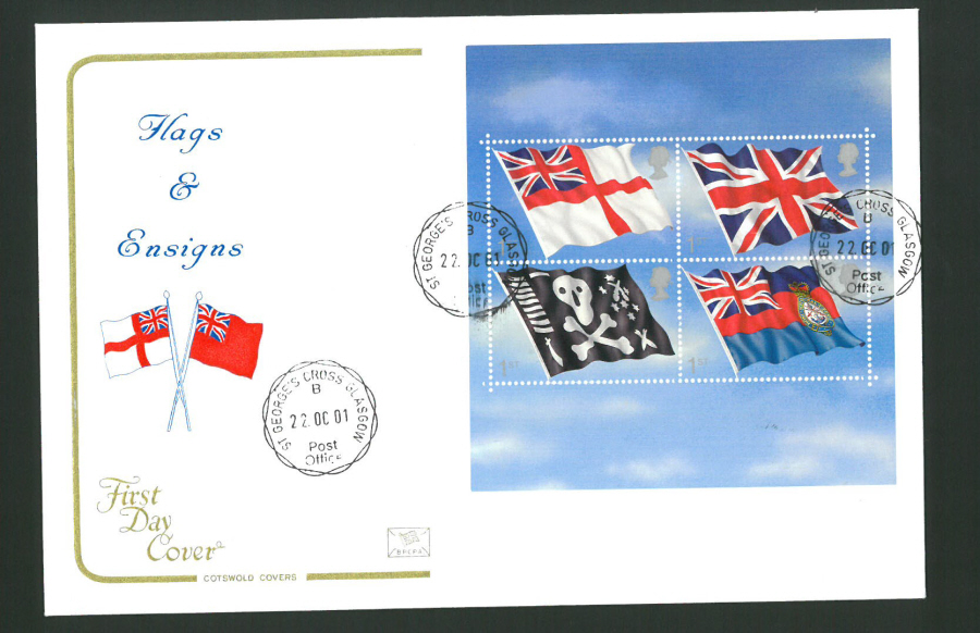 2001 - Cotswold Flags & Ensigns Mini Sheet - FDC - St George's Cross C D S Postmark