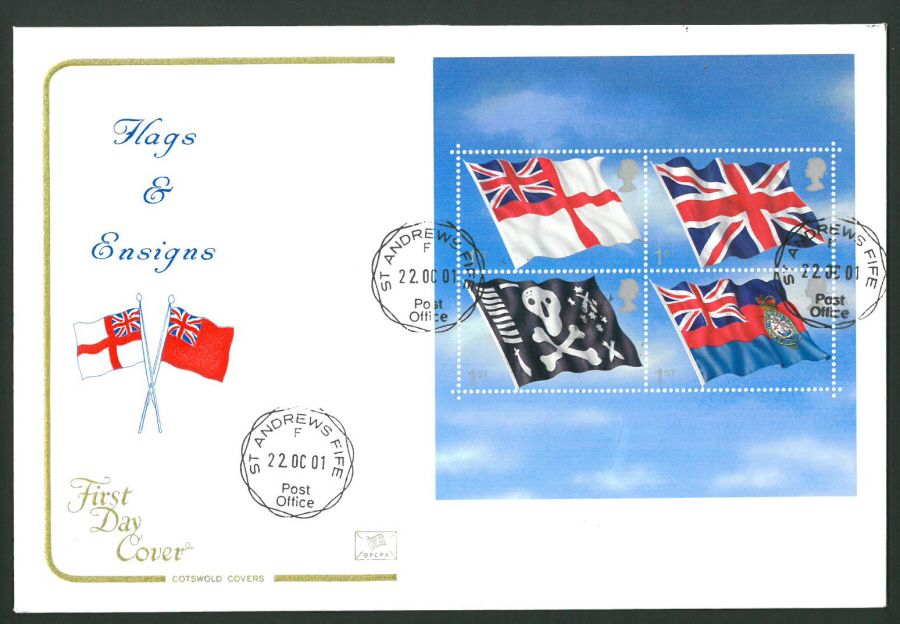 2001 - Cotswold Flags & Ensigns Mini Sheet - FDC - St Andrews Fife C D S Postmark