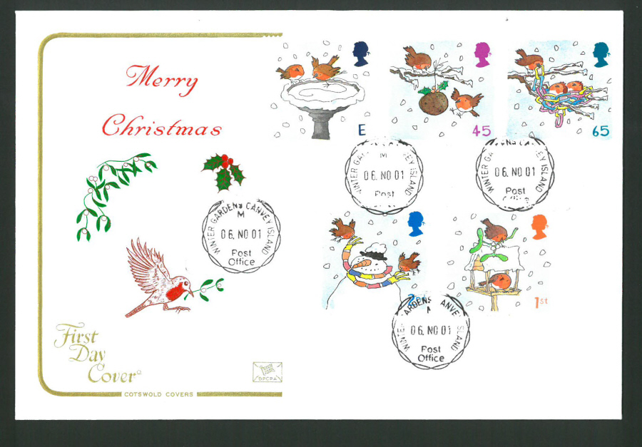 2001 - Cotswold Christmas - FDC - Winter Gardens C D S Postmark