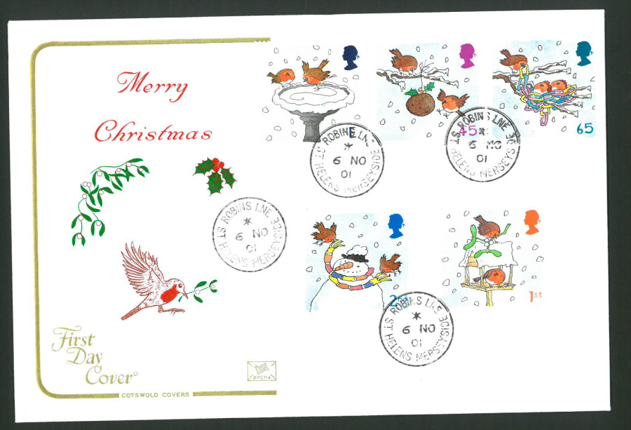 2001 - Cotswold Christmas - FDC - Robins Lane C D S Postmark