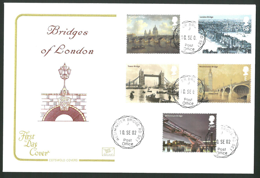 2002 - Cotswold Bridges of London - FDC - Westminster Bridge C D S Postmark