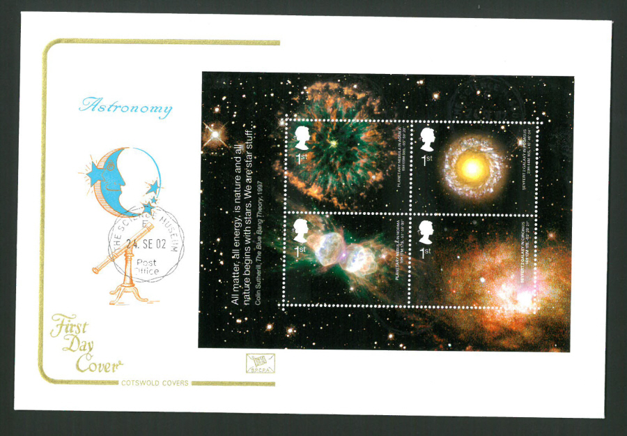 2002 - Cotswold Astronomy Mini Sheet - FDC -Science Museum C D S Postmark