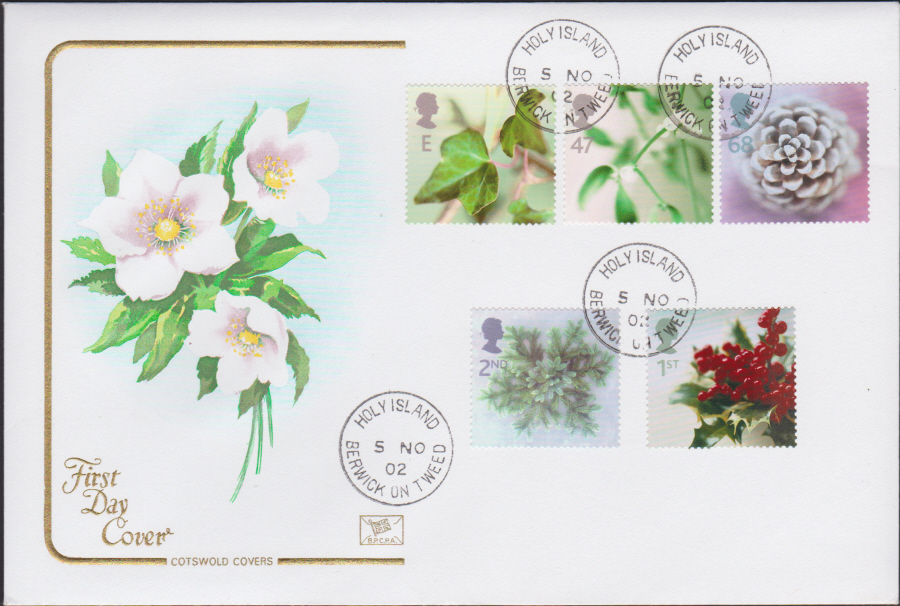 2002 - Cotswold Christmas - FDC -Holy Island C D S Postmark