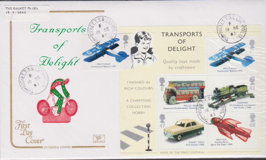 2003 - Cotswold Transport Delight Mini Sheet - FDC -The Rocket T S O C D S Postmark