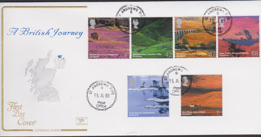 2003 - Cotswold Scotyland - FDC - St Andrews Fife C D S Postmark