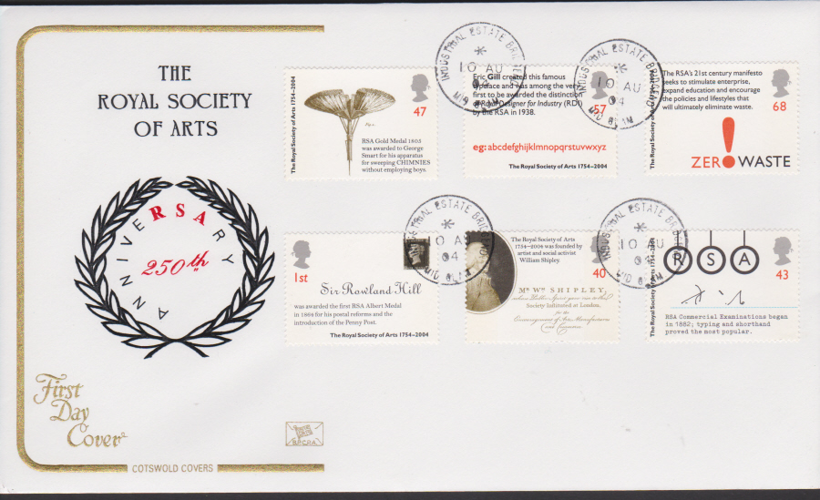 2004 - Cotswold Royal Society - FDC - Industrial Estate Bridgend C D S Postmark