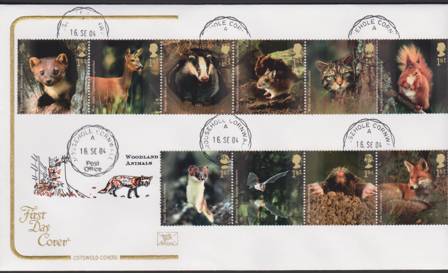 2004 - Cotswold Woodland Animals - FDC - Mousehole Cornwall C D S Postmark