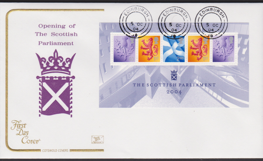 2004 - Cotswold Scottish Parliament - FDC -Edinburgh C D S Postmark