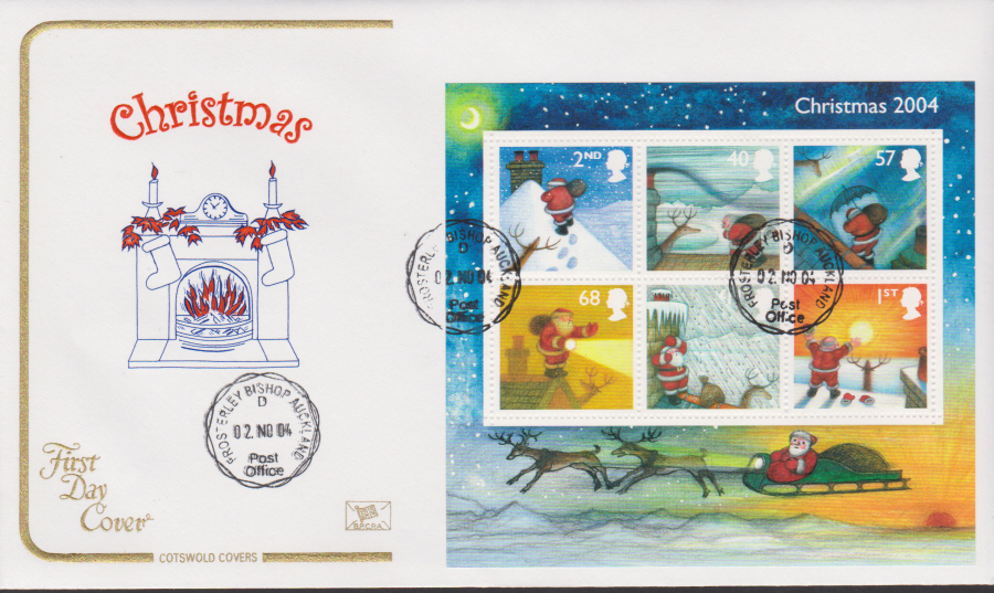 2004 - Cotswold Christmas Mini Sheet - FDC - Frosterley,Bishop Auckland C D S Postmark