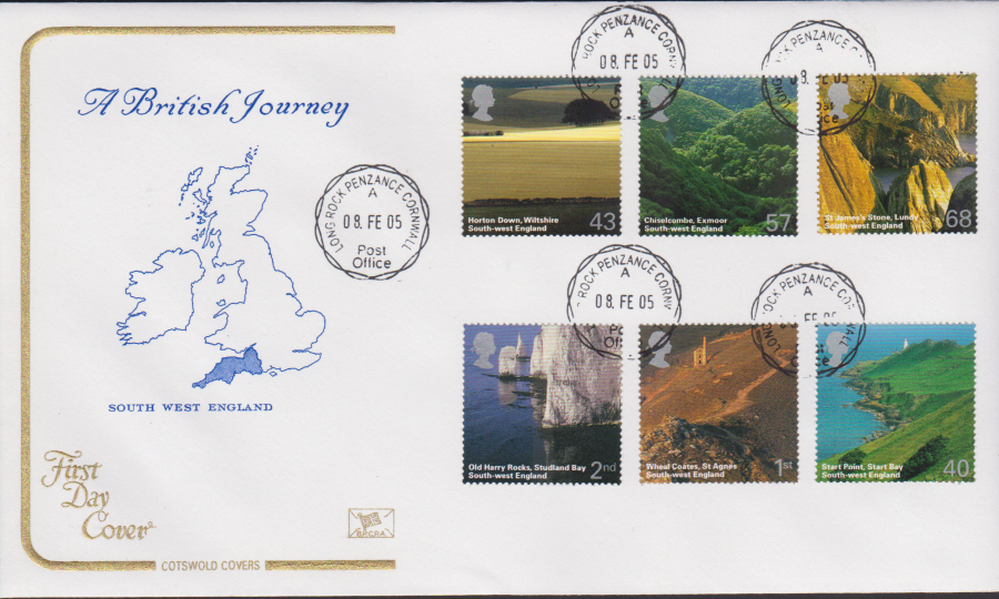 2005 - Cotswold South West England - FDC - Rock Penzance C D S Postmark