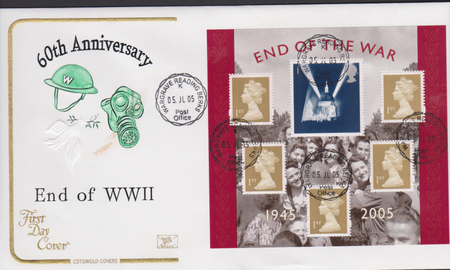 2005 - Cotswold End of World War 2 Mini Sheet - FDC Wargrave C D S Postmark