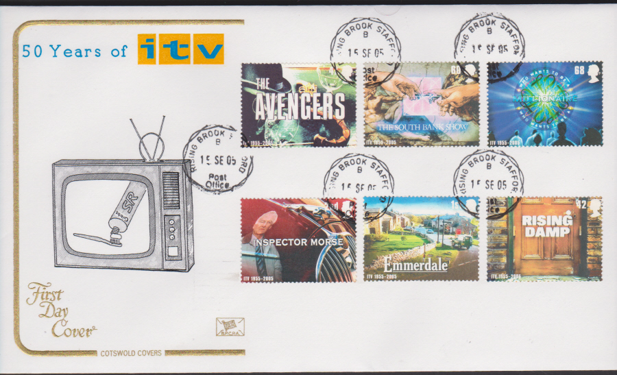 2005 - Cotswold 50 Years of I T V - FDC -Rising Brook C D S Postmark