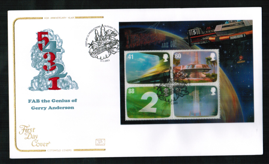2011 - Thunderbirds Mini Sheet First Day Cover, Century 21 Productions, Slough Postmark