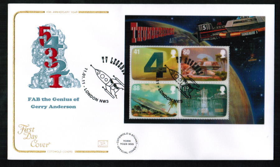 2011 - Thunderbirds Mini Sheet First Day Cover, TV Legends London NW3 Postmark