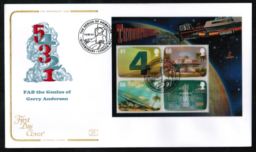 2011 - Thunderbirds Mini Sheet First Day Cover, The Genius of Animation, Bloomsbury London Postmark