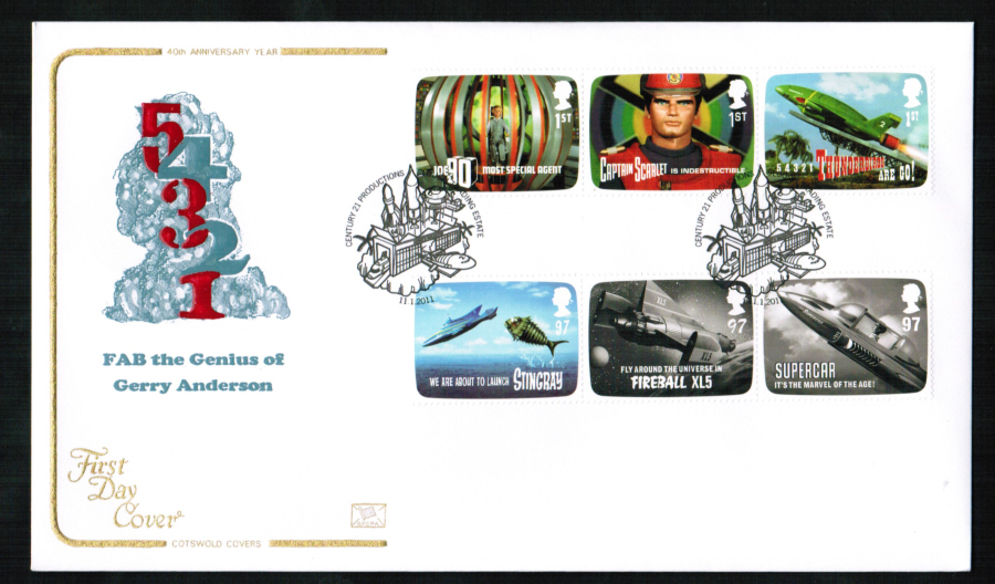 2011 - Thunderbirds Set First Day Cover, Century 21 Productions Slough Postmark
